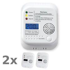 2x Nemaxx CO Détecteur Alarme Monoxyde de Carbone Dioxyde Gaz Securite Numérique
