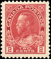 1917-22 Canada Mint H  2c F-VF Scott #106 KGV Admiral Issue Stamp