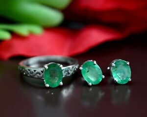 Natural Emerald Gemstone 925 Sterling Silver Engagement Jewelry Ring Earring Set
