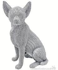 More details for xl large 32cm glitzy silver glitter diamante chihuahua ornament dog lover gift