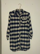 TOPSHOP checked shirt dress blue size UK 10 with side pockets and roll sleves