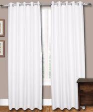Pair of White Eyelet Faux Dupioni Silk Curtains,Thick Lining (260cm W x 215cm L)