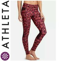 ATHLETA WOMEN'S SIZE SMALL TRIANGULAR BE FREE TIGHT RED LEGGINGS *SIDE POCKETS*