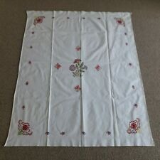 Vintage 1950's / 60's Hand Embroidered White Rectangular Table Cloth Floral