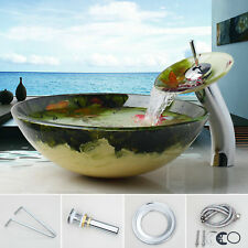 US 4 Bathroom Tempered Glass Vessel Sink Basin Bowl Drain Faucet Combo Round Set
