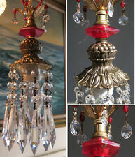 1of5 Vintage beaded ruby red Lucite hanging mini spelter lamp chandelier crystal