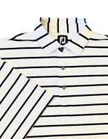 FootJoy FJ Navy Blue & White Striped Golf Polo Shirt Men's Size 2XL Embroidered