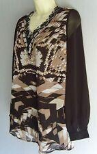 Semi Sheer Black and Beige Chiffon, Beaded Tunic,Evening Blouse Sz 14 NEW (£85)