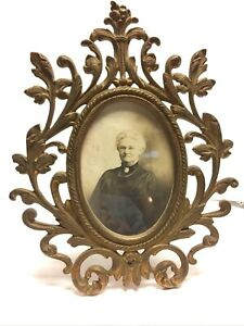 Vintage Fancy Cast Iron Oval Picture Frame