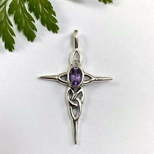 Solid Sterling Silver Celtic Trinity Cross Pendant Set with Purple Amethyst