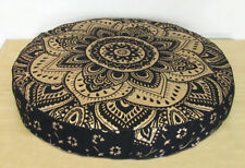 "35"" Round Floor Cushion Black Gold  Mandala Cotton Pouf Seating Cover Pet Bed"