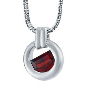 "Men's Garnet Amulet Pendant Necklace in Sterling Silver, 22"""