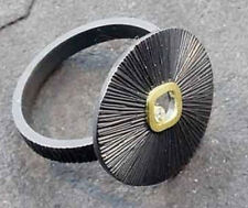 Diamond Sand Dollar ring by Susan Mahlstedt R/M Studio sterling silver &18k gold
