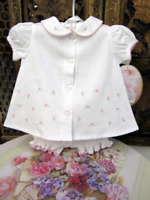 Will Beth heirloom Baby Knit Set with embroidery white with pink detail IN UK