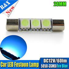 1x Car Visor Mirror Light 12V 28mm 5050 3SMD Interior Festoon LED Bulbs Ice Blue
