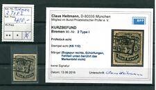 Altdeutschland Bremen Michel Nr. 2 Type I gestempelt / BPP Kurzbefund