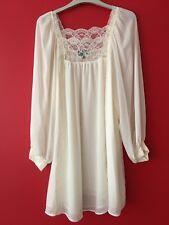 Topshop Vintage Boho Lace Trim Floaty Chiffon Smock Dress Tunic Top Size UK 10