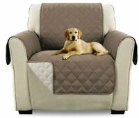 NEW Quilted Reversible Chair Slipcover Furniture Pet Protector Cover with Straps