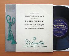 "33C 1007 Beethoven Piano Concerto no. 4 Gieseking Karajan Columbia 10"" B/Gold EX"