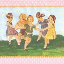 Lot de 2 Serviettes en papier Enfants font la ronde Decoupage Collage Decopatch