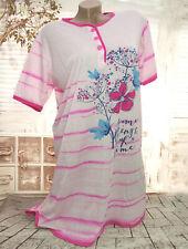 Damen Kurzarm NACHTHEMD Nachtwäsche Schlafshirt Pyjama Blumenmuster Rosa MEDIUM