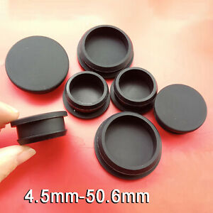 Black Snap-on Hole Plug Silicone Rubber Blanking End Cap Seal Stopper 4.5-50.6mm