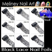 Black Lace Nail Art Transfer Foils Transparent Flowers sticker Foil meliney
