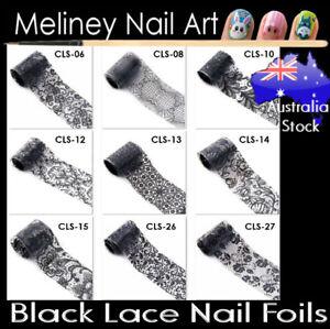 Black White Lace Nail Art Transfer Foils Transparent Flowers sticker Foil