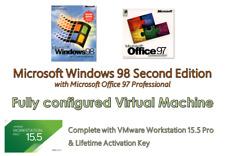 Windows 98 Win 98SE Virtual PC, VMware 15.5 Pro fully loaded with Audio & SVGA