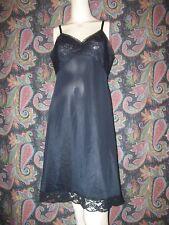 Vintage Vanity Fair Black Lacy Silky Nylon Tricot Slip Lingerie 36