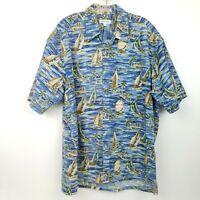 PIERRE CARDIN Men's size XL Button Front Hawaiian Shirt Blue Green Tan Boats VTG