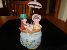 Vintage Music Box Little Boy-Little Girl On A Rowboat In Wavy Waters