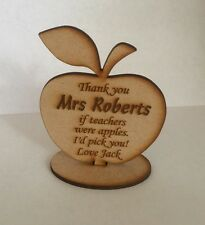 Personalised Teacher Apple Message Keepsake laser cut 3mm thick mdf gift