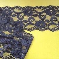 "Navy Blue Stretch Lace Soft Scalloped 3.5""/9.5 cm Trim  Craft Lingerie"