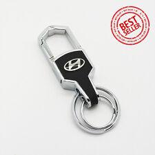 Car Logo Hyundai Emblem Key Chain Metal Alloy Leather Birthday Gift Decoration