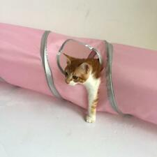 Cloth Cat Tunnel Folding Tent Stripe Button Connection Pet Toy Pink