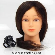 "@18"" COSMETOLOGY MANNEQUIN HEAD 90% REAL HUMAN HAIR FOR COLOR, CURL, BLOW DRYER"