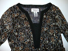 KATHERINE New York Tunic Top Sz. S Brown Black Beige Multi Geometric Floral