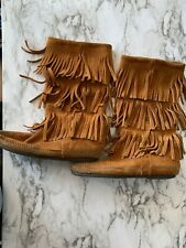MINNETONKA MOCCASINS BROWN SUEDE LEATHER FRINGE BOOTS SHOES WOMENS SIZE 7 Box4
