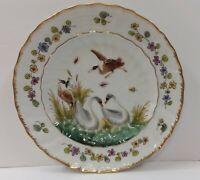 Antique Naples Italy Doccia Meissen Style Porcelain Plate Polychrome Swan 2 of 2
