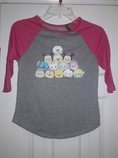 💟 Girls M 7/8 Disney Tsum Tsum Baseball 3/4 Sleeve Shirt New Gray Pink Stitch