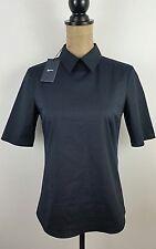 Jil Sander Womens Point Collar Shirt Size 2 Navy Blue Short Sleeve Career Work