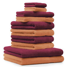 """10 uds. Juego de toallas """"Classic"""" – Premium , color: naranja  y rojo oscu"""