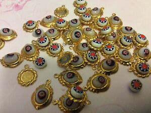 Pendants Goldtone set with Cabochon Vintage C'1960's mixed Pack of 42 CRAFT