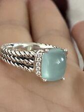 David Yurman Silver Petite Wheaton Chalcedony Diamond Ring Size 8
