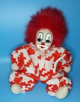 Vintage Q-Tee Clown Sweet Hand Painted Face Red Hair Sand Filled With Tag