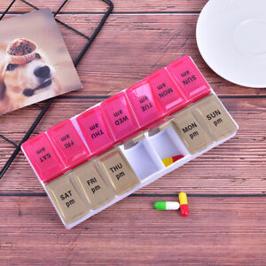 Large 7 Day Twice Daily (AM,PM) Pill Box Medicine Organiser With 14 Compartme JC
