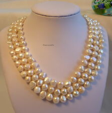 Silver Genuine 8-9mm baroque freshwater  pearls 3-strand  necklaces RP $210.00