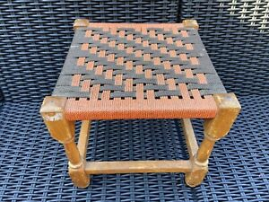 Retro Vintage Wooden Woven Rattan Seat, Stool, Footstool, Plant Stand, Wicker