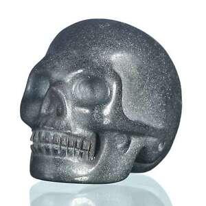 "1.57""Natural  Hematite Carved Skull Metaphysic Healing Power #33O80"